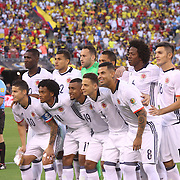 EAST RUTHERFORD, NEW JERSEY - JUNE 17:  The Colombian team pose for a team photograph during the Colombia Vs Peru Quarterfinal match of the Copa America Centenario USA 2016 Tournament at MetLife Stadium on June 17, 2016 in East Rutherford, New Jersey. (Photo by Tim Clayton/Corbis via Getty Images)