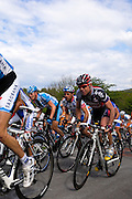 Belgium, Liege - Sunday, April 26, 2009: Cadel Evans (Silence Lotto) and Michele Scarponi (Serramenti Diquigiovanni) follow Saxo Bank's Frank Schleck (#21) (out of picture on left) on the climb of the Côte de la Redoute during the Liège-Bastogne-Liège 2009 cycle race. (Image by Peter Horrell / http://peterhorrell.com)