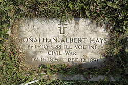 23 September 2017:  Jonathan Albert Hays, PVT Co F 88th ILL Vol Inf, Civil War. West Union Cemetery is located on the north side of Illinois Rt 9 between Danvers and Mackinaw.  It is located within McLean County