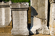 Engraved pillars at the Roman theater on Fourvière Hill, Lyon, France (UNESCO World Heritage Site)