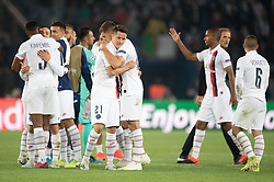Team of PSG celebrates the victory following the UEFA Champions League Raphael Varane Paris Saint Germain and Real Madrid at Parc des Princes on September 18, 2019 in Paris, France<br /> Photo by David Niviere/ABACAPRESS.COM