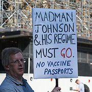2021-09-08 Parliament square, London, UK. Anti-vaxx, anti-vaccinepassport protest Say no to Mandatory vaccine, vaccine passport, Tyranny.