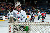 KELOWNA, CANADA - DECEMBER 7: Matt Berlin #29 of the Seattle Thunderbirds stands in net against the Kelowna Rockets on December 7, 2016 at Prospera Place in Kelowna, British Columbia, Canada.  (Photo by Marissa Baecker/Shoot the Breeze)  *** Local Caption ***