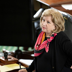 Texas Senate action on Tuesday, May 18, 2021 showing Sen. Jane nelson, R-Flower Mound.