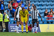 Gillingham FC forward Tom Eaves (9) scores a goal (3-1) and celebrates with team mate Gillingham FC midfielder Regan Charles-Cook (11) during the EFL Sky Bet League 1 match between Gillingham and Burton Albion at the MEMS Priestfield Stadium, Gillingham, England on 11 August 2018.