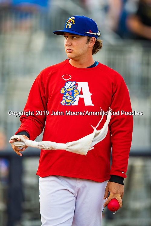 Amarillo Sod Poodles pitcher Sam Williams (20) against the Tulsa Drillers during the Texas League Championship on Wednesday, Sept. 11, 2019, at HODGETOWN in Amarillo, Texas. [Photo by John Moore/Amarillo Sod Poodles]