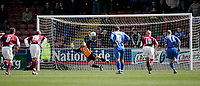 Photo: Marc Atkins.<br /> Northampton Town v Rochdale. Coca Cola League 2. 08/04/2006. <br /> Northampton keeper Lee Harper (C) fails to stop Rickie Lambert's 90th-minute penalty.