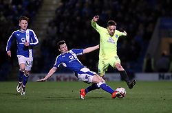 Paul Taylor of Peterborough United is tackled by Connor Dimaio of Chesterfield - Mandatory by-line: Joe Dent/JMP - 14/03/2017 - FOOTBALL - The Proact Stadium - Chesterfield, England - Chesterfield v Peterborough United - Sky Bet League One