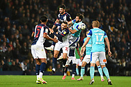 West Bromwich Albion midfielder Alex Mowatt (27) heads the ball during the EFL Sky Bet Championship match between West Bromwich Albion and Derby County at The Hawthorns, West Bromwich, England on 14 September 2021.
