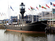 Spurn lightship museum moored in Hull marina, Hull, Yorkshire, England
