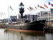 Spurn lightship museum moored in Hull marina, Hull, Yorkshire, England