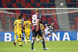 """Foto Filippo Rubin<br /> 28/09/2020 Bologna (Italia)<br /> Sport Calcio<br /> Bologna - Parma - Campionato di calcio Serie A 2020/2021 - Stadio """"Renato """"Dall'Ara<br /> Nella foto: SECONDO GOAL BOLOGNA ROBERTO SORIANO (BOLOGNA FC)<br /> <br /> Photo Filippo Rubin<br /> September 28, 2020 Bologna (Italy)<br /> Sport Soccer<br /> Bologna vs Parma - Italian Football Championship League A 2020/2021 - """"Renato Dall'Ara"""" Stadium <br /> In the pic: 2ND GOAL BOLOGNA ROBERTO SORIANO (BOLOGNA FC)"""
