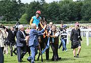 Pferdesport: 148. Deutsches Galopp Derby, Hamburg, 02.07.2014<br /> Jubel Sieger Maxim Pecheur und Windstoß (Kölner Traditionsgestüt Röttgen)<br /> © Torsten Helmke