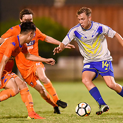 BRISBANE, AUSTRALIA - JANUARY 27: Ryan Palmer of the Strikers in action during the Kappa Silver Boot Grand Final match between Lions FC and Brisbane Strikers on January 27, 2018 in Brisbane, Australia. (Photo by Patrick Kearney)