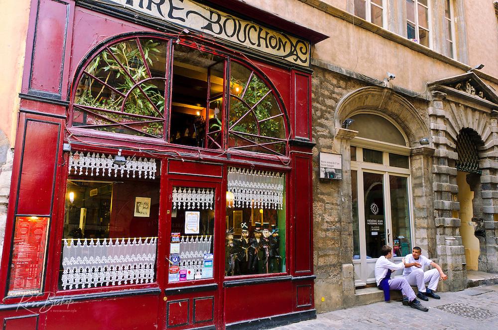 Le Tire Bouchon Restaurant, in old town Vieux Lyon, France (UNESCO World Heritage Site)