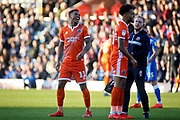 Shrewsbury Town forward Tyrese Campbell (11) see's the funny side of this decision during the EFL Sky Bet League 1 match between Peterborough United and Shrewsbury Town at London Road, Peterborough, England on 23 February 2019.