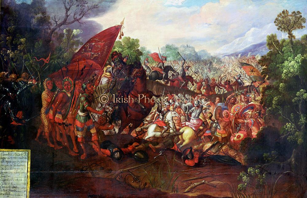 Hernando Cortes (Cortez - 1485-1547) Spanish conquistador, Cortes and his men after the retreat from Tenochtitlan.
