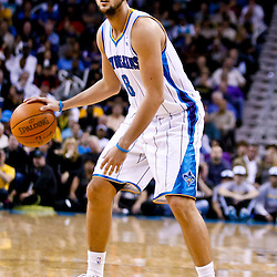 November 17, 2010; New Orleans, LA, USA; New Orleans Hornets shooting guard Marco Belinelli (8) of Italy during the second half against the Dallas Mavericks at the New Orleans Arena. The Hornets defeated the Mavericks 99-97. Mandatory Credit: Derick E. Hingle