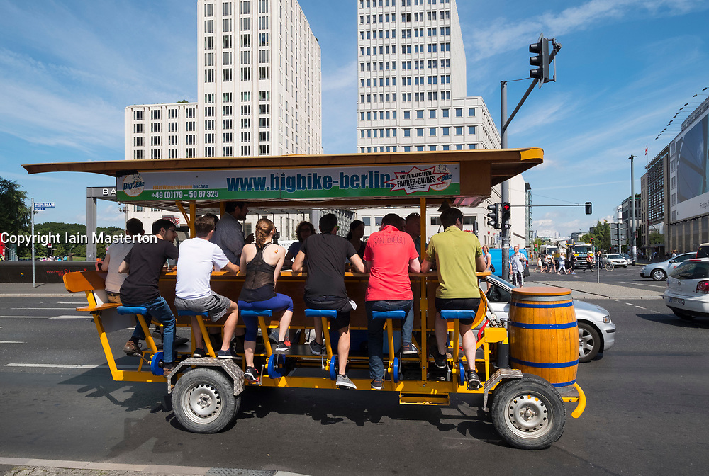 Mobile bicycle powered bar at Potsdamer Platz in Berlin, Germany