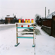 A roadside stall selling jars of honey, Vadu Izei, Maramures, Romania