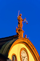 Justice statue atop the City Hall (Rathaus), Offenburg, Baden-Württemberg, Germany