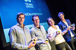 Blaz Rola, Grega Zemlja, Andreja Klepac and Blaz Kavcic at Slovenian Tennis personality of the year 2016 annual awards presented by Slovene Tennis Association Tenis Slovenija, on December 7, 2016 in Siti Teater, Ljubljana, Slovenia. Photo by Vid Ponikvar / Sportida