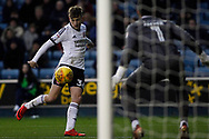 David Brooks of Sheffield United (L) scores his team's first goal. EFL Skybet championship match, Millwall v Sheffield Utd at The Den in London on Saturday 2nd December 2017.<br /> pic by Steffan Bowen, Andrew Orchard sports photography.
