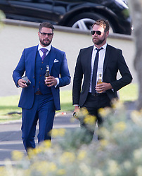 Brian McFadden and Keith Duffy. Ronan Keating wedding to Storm Uechtritz at Archerfield today.