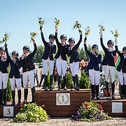 CCIJ1* Teams on the podium at the FEI North American Youth Championships in Kalispell, Montana. (L - R) Area IV & VII, Area V and Area II