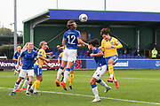 Everton midfielder Damaris Egurrola (12) heads the ball clear during the FA Women's Super League match between Everton Women and Brighton and Hove Albion Women at the Select Security Stadium, Halton, United Kingdom on 18 October 2020.