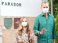 King Felipe VI of Spain, Crown Princess Leonor arrive to National Inn on July 22, 2020 in Merida, Spain