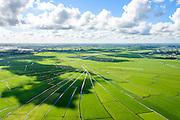 Nederland, Noord-Holland, Gemeente Ouder-Amstel, 27-09-2015; Amstelland, Polder de Rondehoep (Polder de Ronde Hoep), een van de grootste onbebouwde weidegebieden van de Randstad met karakteristiek stervormig kavelpatroon. Dit slotenpatroon van gerende verkaveling is ontstaan ten tijde van de ontginning in de middeleeuwen. Aan de horizon Mijdrecht en Vinkenveen. The Polder Rondehoep (or Polder Round Hoep), one of the largest undeveloped pasture area's in the Randstad with characteristic star-shaped pattern. This pattern is the result of the extraction during the Middle Ages..luchtfoto (toeslag), aerial photo (additional fee required).foto/photo Siebe Swart
