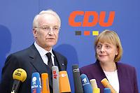17 JAN 2002, BERLIN/GERMANY:<br /> Edmund Stoiber, CSU, Ministerpraesident Bayern und CDU/CSU Spitzenkandidat, und Angela Merkel, CDU Bundesvorsitzende, waehrend einem Pressestatement zu einer vorangegangenen Besprechung ueber die Organisation des Bundestagswahlkampfes, CDU Bundesgeschaeftsstelle<br /> IMAGE: 20020117-01-012<br /> KEYWORDS: Ministerpräsident, Mikrofon, microphone, Pressekonferenz