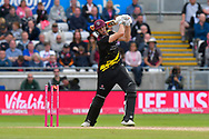 Wicket - Jamie Overton of Somerset is bowled by Tymal Mills of Sussex during the Vitality T20 Finals Day semi final 2018 match between Sussex Sharks and Somerset County Cricket Club at Edgbaston, Birmingham, United Kingdom on 15 September 2018.