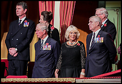 November 12, 2016 - London, United Kingdom - Image ©Licensed to i-Images Picture Agency. 12/11/2016. London, United Kingdom. Royal Festival of Remembrance. ...(left to right) Timothy Laurence, the Princess Royal, the Prince of Wales, the Duchess of Cornwall and the Duke of York at the annual Royal Festival of Remembrance at the Royal Albert Hall in London..Picture by  i-Images / Pool (Credit Image: © i-Images via ZUMA Wire)