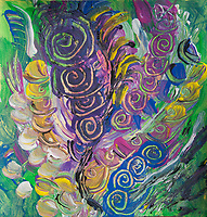 twisting nature abstraction art: colorful bright image with round shapes and curls