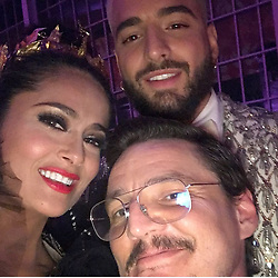 """Salma Hayek releases a photo on Instagram with the following caption: """"Que viva #M\u00e9xico, #Colombia y #Chile #MetGala #tbt #maluma #pedropascal"""". Photo Credit: Instagram *** No USA Distribution *** For Editorial Use Only *** Not to be Published in Books or Photo Books ***  Please note: Fees charged by the agency are for the agency's services only, and do not, nor are they intended to, convey to the user any ownership of Copyright or License in the material. The agency does not claim any ownership including but not limited to Copyright or License in the attached material. By publishing this material you expressly agree to indemnify and to hold the agency and its directors, shareholders and employees harmless from any loss, claims, damages, demands, expenses (including legal fees), or any causes of action or allegation against the agency arising out of or connected in any way with publication of the material."""
