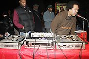 l to r :DJ Vincent  spins at ' Bring out the Sound System: The West Indian Roots of HipHop held at The Point on February 28, 2009 in the Bronx, NY..It is a known fact that the trinity of Hip Hop DJ pioneers have roots in the West Indies including DJ Kool Herc, Afrika Bambaataa, and Grandmaster Flash. Other early artists who made significant contributions to the music include Kool DJ Red Alert, KRS-One, Doug E. Fresh, among others.   ..Post World War II Bronx had a growing community of West Indian immigrants, particularly after the U.S. Immigration Act of 1965.  Recreation rooms at 1520 Sedgwick where Kool Herc deejayed and Bronx River Houses where Afrika Bambaataa held court as well as many local parks and early venues like the Black Door, where Grandmaster Flash rocked, mark the cradle of Hip Hop.
