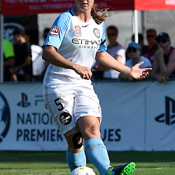 BRISBANE, AUSTRALIA - DECEMBER 4: Laura Alleway of the City passes the ball during the round 5 Westfield W-League match between the Brisbane Roar and Melbourne City at AJ Kelly Field on December 4, 2016 in Brisbane, Australia. (Photo by Patrick Kearney/Brisbane Roar)