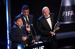Diego Maradona, Ronaldo and Gianni Infantino present the award for FIFA Men's Player of the Year during the Best FIFA Football Awards 2017 at the Palladium Theatre, London. PRESS ASSOCIATION Photo. Picture date: Monday October 23, 2017. See PA story SOCCER Awards. Photo credit should read: Adam Davy/PA Wire.