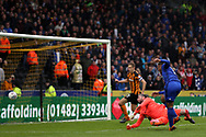 Hull City goalkeeper Allan McGregor (1) makes a save from Cardiff City forward Kenneth Zohore (10)  during the EFL Sky Bet Championship match between Hull City and Cardiff City at the KCOM Stadium, Kingston upon Hull, England on 28 April 2018. Picture by Mick Atkins.