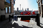 April 7, 2020, London, England, United Kingdom: Blankets of a homeless man are seen drying in front of Westminster Palace nearby St Thomas' Hospital which is treating some of the coronaviruses COVID-19 patients including British Prime Minister Boris Johnson who is in intensive care fighting the coronavirus in London, Tuesday, April 7, 2020. (Credit Image: © Vedat Xhymshiti/ZUMA Wire)