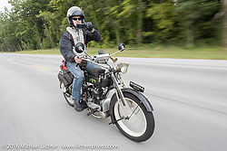 Hans Coertse of South Africa riding his 976c twin cylinder 1913 Matchless Model 5B Motorcycle during the Motorcycle Cannonball Race of the Century. Stage-5 from Bloomington, IN to Cape Girardeau, MO. USA. Wednesday September 14, 2016. Photography ©2016 Michael Lichter.