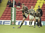 Watford. Great Britain. <br /> Tim STIMPSON with a penalty kick. <br /> Heineken Cup Semi Final; Gloucester Rugby vs Leicester Tigers. Vicarage Road Stadium, Hertfordshire.England.  <br /> <br /> [Mandatory Credit, Peter Spurrier/ Intersport Images].