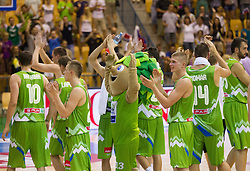 Players of Slovenia after the friendly match between National teams of Slovenia and Serbia for Eurobasket 2013 on August 3, 2013 in Arena Zlatorog, Celje, Slovenia. (Photo by Vid Ponikvar / Sportida.com)