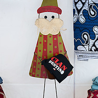 "VENICE, ITALY - DECEMBER 18:  A Colombian hand made Father Christmas on display at ""l'Altro Natale"" Christmas market on December 18, 2010 in Venice, Italy. ""L'Altro Natale"" an alternative Christmas market organised over the busiest shopping week end of the year promotes fair trade and alternative commerce."