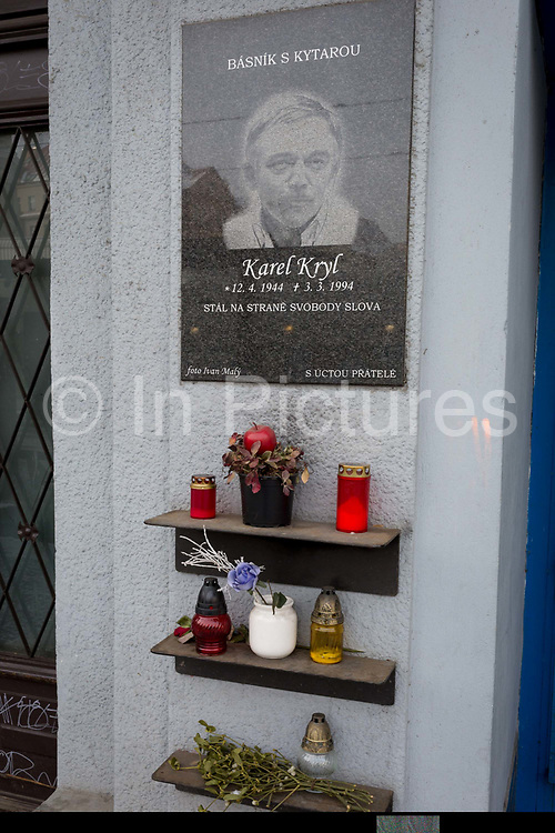 A memorial to the Czech cultural hero Karel Kryl, on 18th March, 2018, in Prague, the Czech Republic. Karel Kryl was an iconic Czechoslovak Moravian born and Czech speaking poet, singer-songwriter and performer of many hit protest songs in which he identified and attacked the hypocrisy, stupidity and inhumanity of the Communist and later also the post-communist regimes in his home country.
