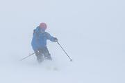 Diamond Peaks Ski Patrol director Owen Richard skis in whiteout conditions near Montgomery Pass, Feb. 6, 2021.