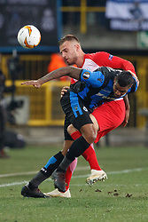 February 14, 2019 - Brugge, BELGIUM - Club's Wesley Moraes and Salzburg's Moanes Dabour fight for the ball during a soccer game between Belgian team Club Brugge KV and Austrian club FC Red Bull Salzburg, the first leg of the 1/16 finals (round of 32) in the Europa League competition, Thursday 14 February 2019 in Brugge. BELGA PHOTO KURT DESPLENTER (Credit Image: © Kurt Desplenter/Belga via ZUMA Press)
