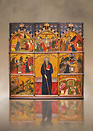 Gothic painted Panel Altarpiece of Saint Anthony the Abbot by Master of Rubio. Tempera and gold leaf on wood. Circa 1360-1375. Dimensions 173.5 x 176.3 x 11.5 cm.  National Museum of Catalan Art, Barcelona, Spain, inv no: 045854-CJT .<br /> <br /> If you prefer you can also buy from our ALAMY PHOTO LIBRARY  Collection visit : https://www.alamy.com/portfolio/paul-williams-funkystock/romanesque-art-antiquities.html<br /> Type -     MNAC     - into the LOWER SEARCH WITHIN GALLERY box. Refine search by adding background colour, place, subject etc<br /> <br /> Visit our ROMANESQUE ART PHOTO COLLECTION for more   photos  to download or buy as prints https://funkystock.photoshelter.com/gallery-collection/Medieval-Romanesque-Art-Antiquities-Historic-Sites-Pictures-Images-of/C0000uYGQT94tY_Y